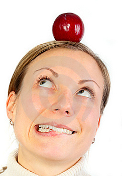 Remorse Concept - Looking At Fruit On Head Royalty Free Stock Photography - Image: 9458607