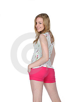 Pretty Young Woman In Tight, Hot Pink Shorts Royalty Free Stock Photography - Image: 9461197