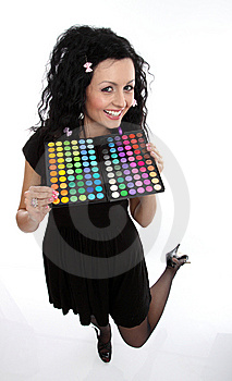 Lady Doll With Make-up Palette Stock Image - Image: 9463641