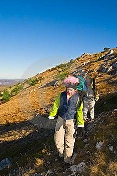 Hikers Climbing The Mountain Stock Photo - Image: 9465140