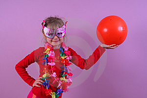 Girl In The Mask With A Ball Royalty Free Stock Images - Image: 9465489