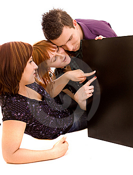 Friends With Banner Stock Photo - Image: 9466880