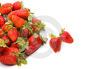 Fresh Strawberries On A Platter Isolated On White Stock Photo - Image: 9474500