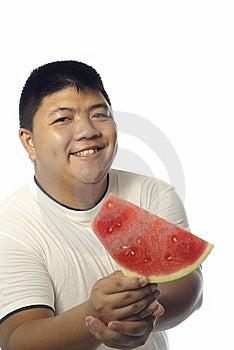 Happy Asian Man And Watermelon Royalty Free Stock Photos - Image: 9481858