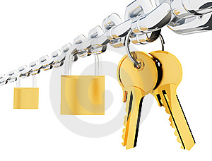 Chain Locks And Keys Sharp Royalty Free Stock Photo - Image: 9482855