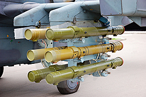 Rockets Placed Under A Plane Wing Stock Images - Image: 9483404