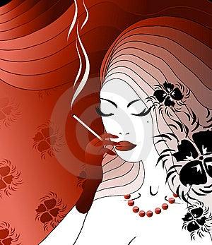 Smoking Noblewoman Stock Photography - Image: 9484582