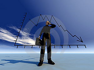 Businessman And Credit Crunch Graph Stock Image - Image: 9485251