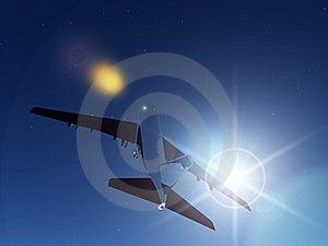 Plane At Night Royalty Free Stock Photo - Image: 9485395