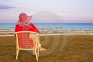 Lonely Young Woman Near The Ocean Stock Image - Image: 9485961