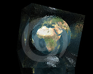 Earth In Cracked Glass Cube Stock Photos - Image: 9486503