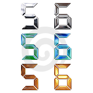 Set Of 3d Metal Digits Royalty Free Stock Images - Image: 9486609