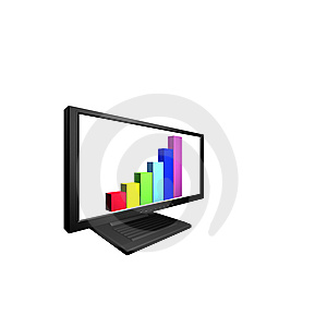 Flat Lcd Monitor With Financial Diagram Royalty Free Stock Images - Image: 9487179
