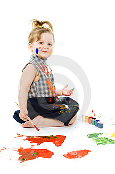 Cute Baby Paintings Stock Image - Image: 9495421