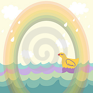 Duck Under The Rainbow Royalty Free Stock Image - Image: 9497506
