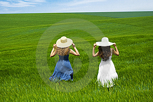 Two Friends Enjoying The Open Air Royalty Free Stock Photo - Image: 9497925