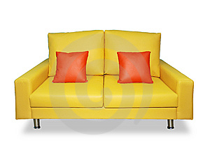 Clean Yellow Sofa And Pillows Royalty Free Stock Image - Image: 9498886