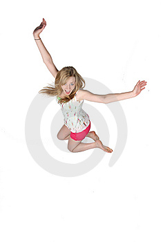 Pretty Young Woman Jumping For Joy And Fun Royalty Free Stock Images - Image: 9502329