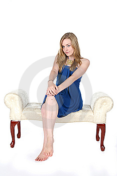 Pretty Young Woman In Blue Dress And Bare Feet Royalty Free Stock Image - Image: 9502336