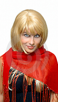 Blonde Smile Girl In Red Stock Photography - Image: 9503682