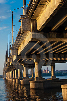Bridge On Dnepr River Royalty Free Stock Image - Image: 9504796
