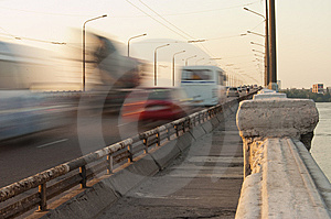 Bridge On Dnepr River Stock Photography - Image: 9504852