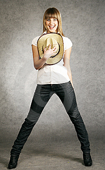 Cowgirl With A Hat On A Grey Background Royalty Free Stock Photos - Image: 9504868