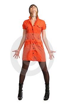 Glamor Girl In A Orange Dress Isolated Royalty Free Stock Photos - Image: 9504948