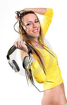 Attractive Young Woman With Headphones Over White Royalty Free Stock Images - Image: 9505189
