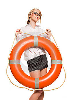 Businesswoman With Red Life Buoy Stock Image - Image: 9505321