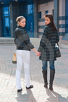 Two Young Girls In A City Royalty Free Stock Photography - Image: 9505727