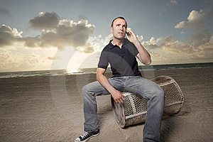 Man On The Phone On The Beach Stock Images - Image: 9512134