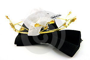 Black Bow Tie With Tiara And White Rose Stock Image - Image: 9512691