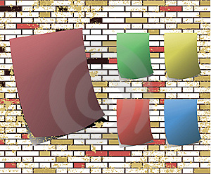 Sticky Note On T Dirty Brick Wall Raster Royalty Free Stock Photo - Image: 9513985