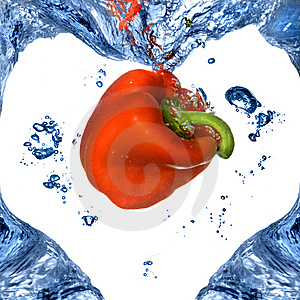 Red Pepper With Shape Of Heart From Blue Water Royalty Free Stock Photo - Image: 9514885