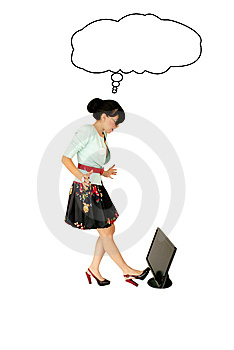 Girl Kicking Monitor Stock Photos - Image: 9515723