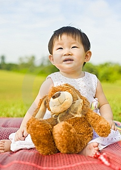 Portrait Of A Infant Girl Outdoor In The Park Royalty Free Stock Photography - Image: 9519477