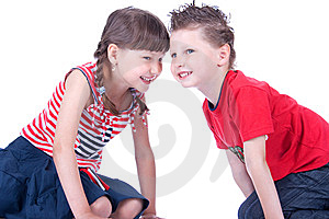 Brother And Sister Are Playing On The Floor Stock Photo - Image: 9519540