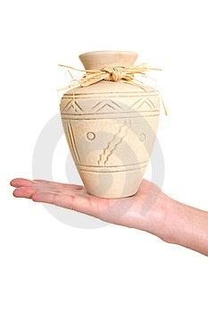 Clay Pot On Hand Royalty Free Stock Photo - Image: 9522865