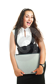 Successful Woman Holding A Laptop Stock Images - Image: 9528084