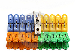 Multicolored Clothes-pegs And One Is Old Stock Images - Image: 9532734