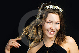 Pretty Woman Wearing A Diadem Stock Photos - Image: 9533033