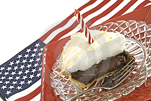 Chocolate Meringue Pie With Flag Stock Photos - Image: 9533223