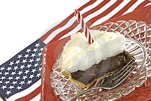Chocolate Meringue Pie With Flag Stock Photos - Image: 9533223