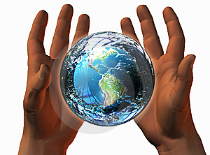 3D Earth On 3D Hands Stock Photo - Image: 9538430
