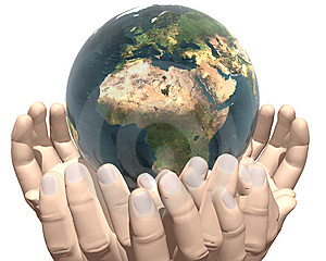 Earth In Hands Isolated On White Royalty Free Stock Image - Image: 9538446