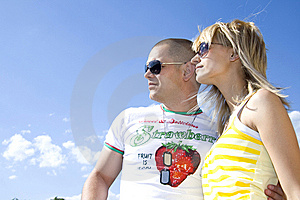 Couple In Love Looking At The Sky Stock Photography - Image: 9538882