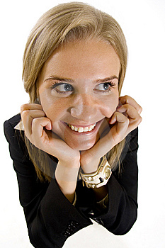 Wide Angle Picture Of An Attractive Businesswoman Stock Photo - Image: 9539680