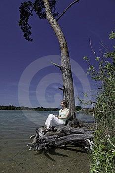 Blonde Female Enjoying The Nature At A Lake Stock Image - Image: 9539941