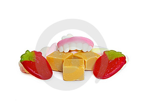 Gluttony Concept With Sweets And Candy Dentures Stock Images - Image: 9542324